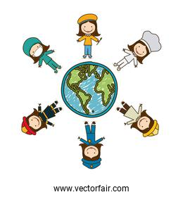 colorful caricature female people professions around world earth map