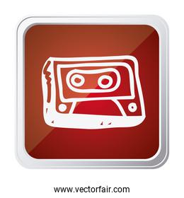 button of cassette tape with background red and hand drawn