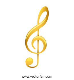 treble clef in golden with background white