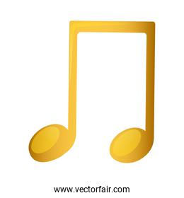 musical note in golden with background white