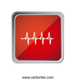 button with vital sign line with background red