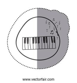 figure piano instrument with note musical icon
