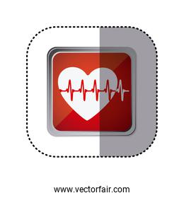 red emblem heartbeat icon