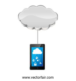 cloud storage connected with tech tablet device