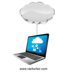 cloud storage connected with tech laptop device