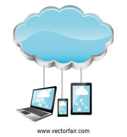 cloud storage connected with tech device set