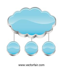 cloud storage connected with set circular figures