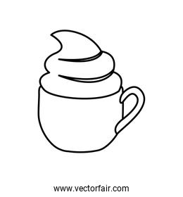 silhouette cup of cappuccino with cream