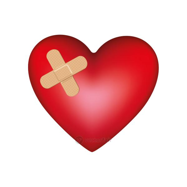 heart with aid band icon