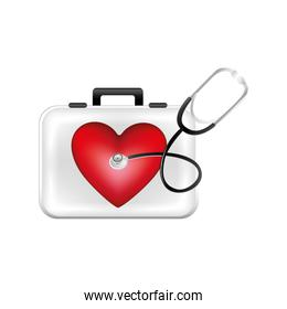 first aid kit with heart and stethoscope
