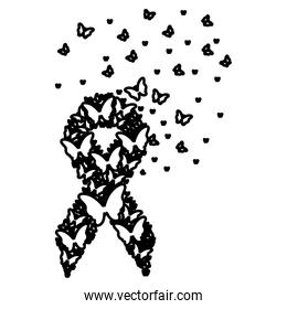 breast cancer symbol with flying butterflies