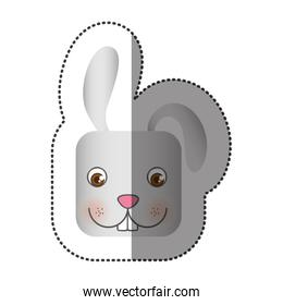 colorful face sticker of rabbit in square shape