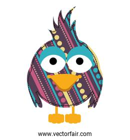colorful caricature bird with texture dots and lines design
