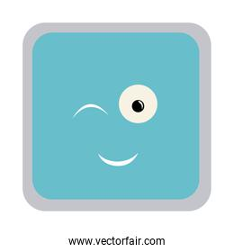 square colorful shape emoticon winking expression