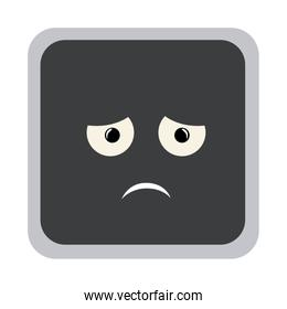 square colorful shape emoticon dissapointed expression
