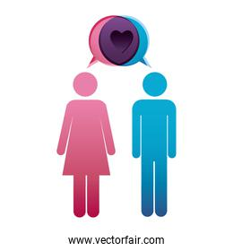 pictogram male and female with bubble dialog box with heart sign