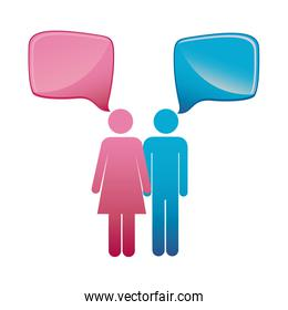pictogram couple with square dialog box