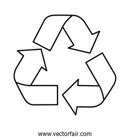 silhouette recycling symbol with arrows