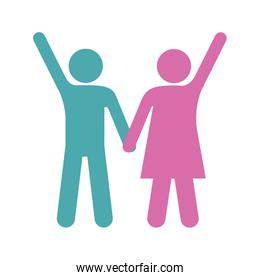silhouette color pictogram man and woman taken of hands