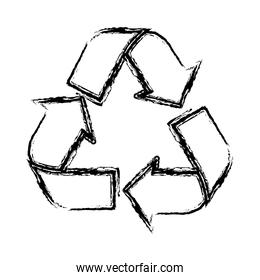 sketch of recycling symbol with arrows