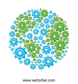 colorful circular shape with pattern of pinions