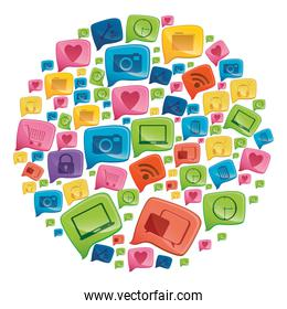 circular shape colorful pattern formed by dialogue social icons