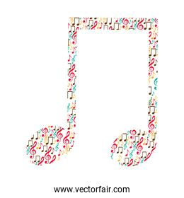 musical note color silhouette formed by musical notes