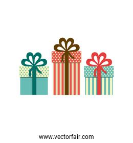 colorful set of gift boxes with decorative ribbon