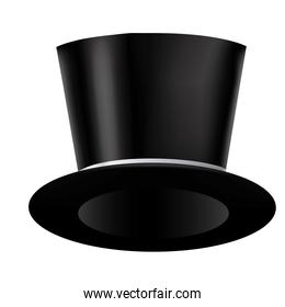 silhouette of realistic black hat with ribbon