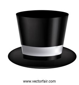 silhouette of realistic black hat with ribbon in frontal view