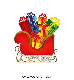 colorful silhouette of sleigh with gifts