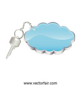 3D realistic metal key with keyring in cloud shape