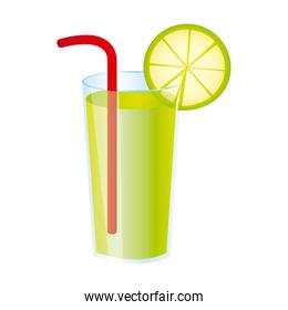 colorful realistic lemon freshness drink cocktail glass