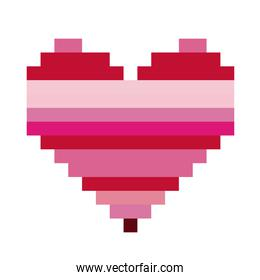 heart shape with colorful horizontal lines pixel