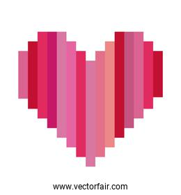 heart shape with colorful vertical lines pixel