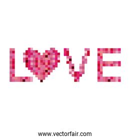 Colorful pixels forming the word love