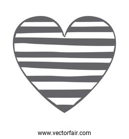monochrome silhouette heart with horizontal lines inside
