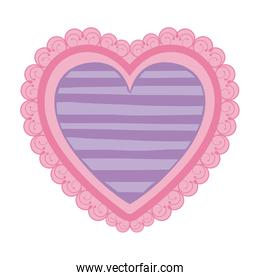 pink color heart shape decorative frame with lilac pattern lines