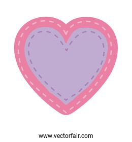 pink color heart shape decorative frame with lilac background inside
