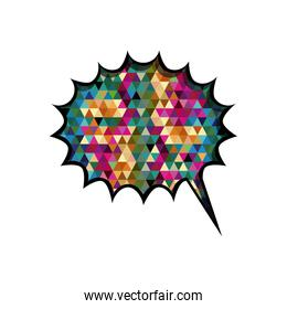 colorful circular speech with sawtooth contour and tail with abstract background