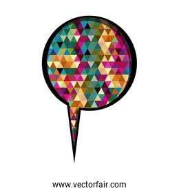 colorful circular speech with tail and abstract background