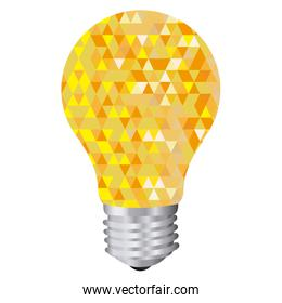 background with yellow light bulb and abstract glass