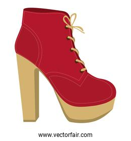 color silhouette of high heel shoe with shoelaces