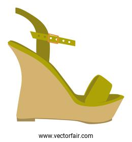 color silhouette of green sandal shoe with platform sole
