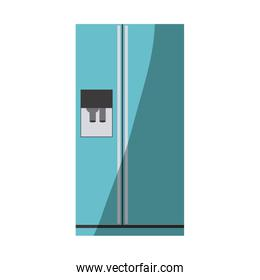blue color silhouette of fridge with water dispenser