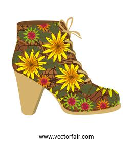 colorful silhouette of high heel shoe with shoelaces with decoratives flowers