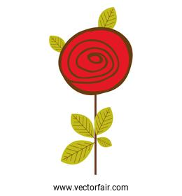colorful drawing red rose with leaves and stem