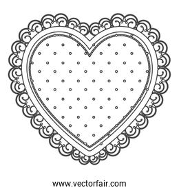 silhouette sketch heart with decorative frame with dots