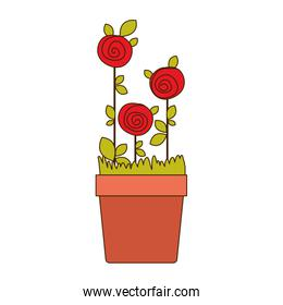 colorful drawing roses planted with leaves in flowerpot