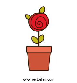 colorful drawing red rose with leaves and stem in flowerpot